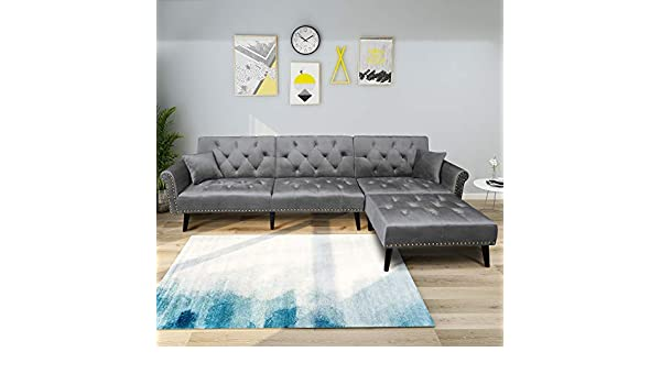 Amazon.com: P PURLOVE Modern Sofa Bed, L-Shape Sectional Couch, 115 ...