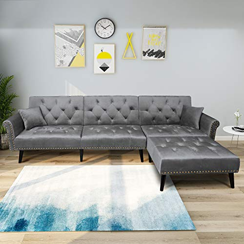 Set Modern Style Living Room Sectional Couch & Sleeper L- Shape with Two Pillows | Reclining Adjustable Backrest | Detached Reversible Chaise/Ottoman | Grey ()