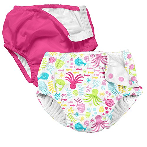 i play. 2 Pack Absorbent Toddler Swim Diapers Hot Pink and Sea Fish Friends 4T
