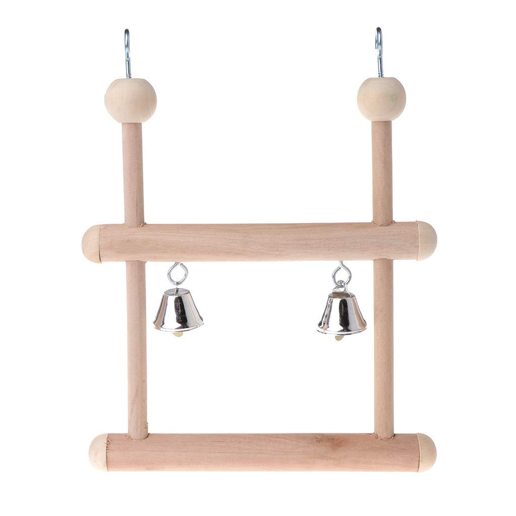 Parrot Perch Toys Birds Swing Wood Double Layer Hanging Cage Bell Stand Holder Premium Quality by Yevison