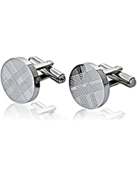 Jemdesign's CuffLink Round Stainless Steel With Tartan Pattern For Men's Accessories Shirt Wedding Business Anniversary Includes Gift Box