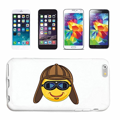 "cas de téléphone iPhone 7+ Plus ""SMILEY PILOT AVEC LUNETTES ET PILOT HAT ""SMILEYS SMILIES ANDROID IPHONE EMOTICONS IOS sa sourire EMOTICON APP"" Hard Case Cover Téléphone Covers Smart Cover pour Apple"