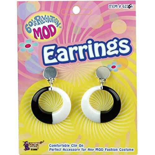 Mod Black White Hoop Earrings
