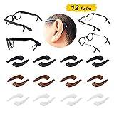 12 Pairs Eyeglass Ear Grip Hooks, Anti-Slip Glasses Ear Hook Grip, Soft Silicone Eyeglass Temple Tips Sleeve Retainer for Eyeglass Sunglass