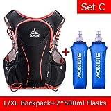 POJNGSN Hydration Pack Backpack Rucksack Bag Vest Harness Water Bladder Hiking Camping Running Race Sports 5L Set C