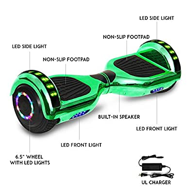 Otter Star Electric Chrome Hoverboard with Built-in Speaker and LED Lights self Balancing Scooter Dual Motors Hover Board UL2272 Certified (Green)
