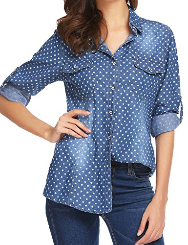 SoTeer Women's Button Down Long Sleeve Classic Denim Shirt Tops with Flower Prints & Pocket