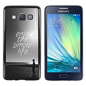 Be Good Phone Accessory // Dura Cáscara cubierta Protectora Caso Carcasa Funda de Protección para Samsung Galaxy A3 SM-A300 // simple life enjoy sun black white sunset