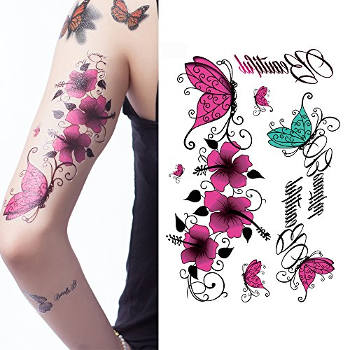 Yeeech Temporary Tattoos Sticker Butterfly Vine Flower Sexy Products for Women - Sunglasses Vine