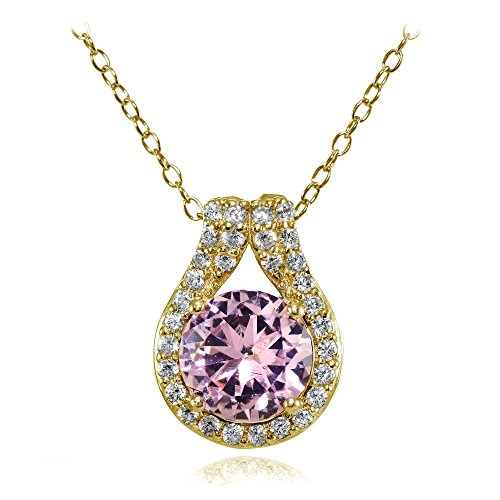 Yellow Gold Pink Tourmaline Pendant - Yellow Gold Flashed Sterling Silver Simulated Pink Tourmaline Round Halo Necklace with CZ Accents