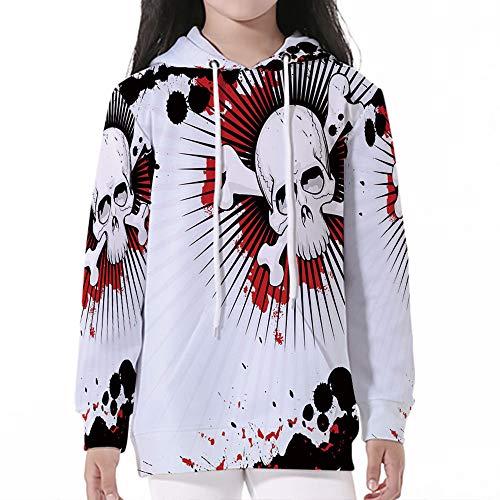 iPrint Pullover Hooded Sweatshirt,Halloween,Skull with Crossed Bones Over Grunge Backg]()
