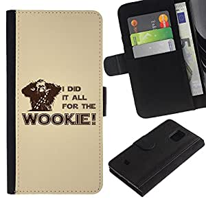 EuroCase - Samsung Galaxy S5 Mini, SM-G800, NOT S5 REGULAR! - I Did It All For The Wookie - Cuero PU Delgado caso cubierta Shell Armor Funda Case Cover