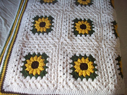 Hand Crocheted Sunflower Granny Square Blanket/Afghan / Throw (86 in x 61 in)
