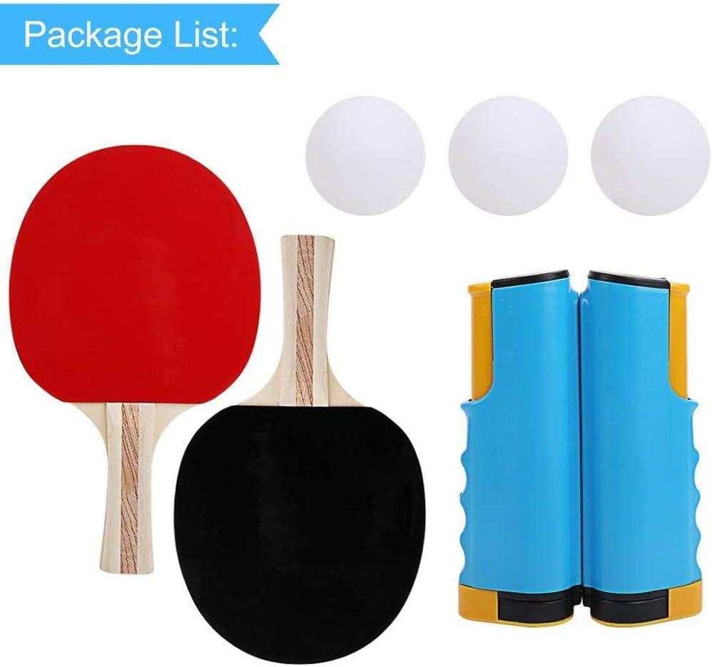 RXDRO Juego De Ping Pong De Mesa, Que Incluye Poste De Red RetráCtil, 2 Raquetas De Tenis De Mesa Y 3 Pelotas, LléVelo Usted Hacer Ejercicio En Casa Cancha En Interiores O Exteriores