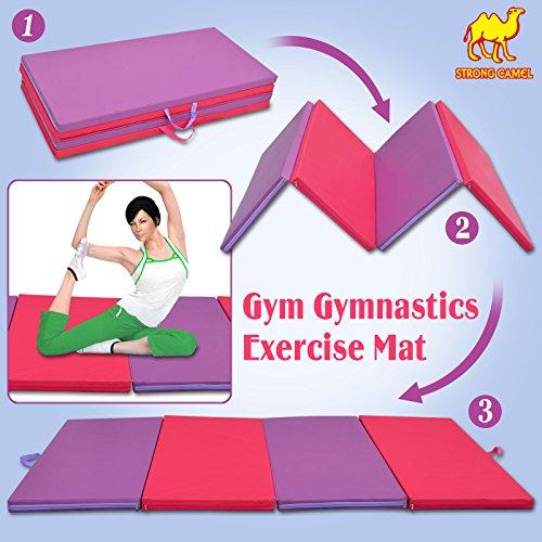 Strong Camel 4 Foldable Folding Panel Gym Gymnastics Exercise Yoga Mat Pad purple& pink Color (SIZE 4'x8'x2″)