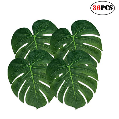 (Menghao 36PCS Large Tropical Palm Monstera Plant Leaves,for Hawaiian Jungle Beach Party)