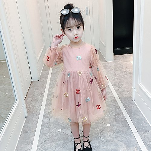 XIU*RONG Vestidos Para Niñas Primavera Princesa Falda Falda Niña Primavera Y Otoño Pink
