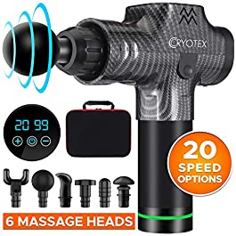 Cryotex Massage Gun – Deep Tissue Handheld Percussion Massager – Six Different Heads for Different Muscle Groups – 20 Speed Options (Grey)