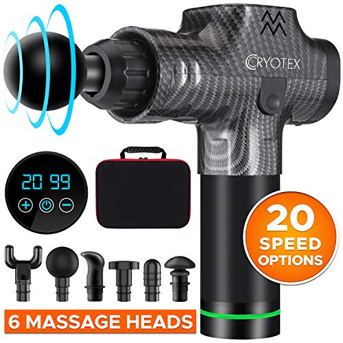Cryotex Massage Gun – Deep Tissue Handheld Percussion Massager – Six Different Heads for Different Muscle Groups – 20 Speed Options