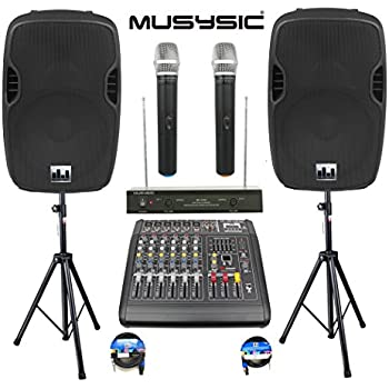 """Complete Professional 2000 Watts Complete PA System 6 Ch Mixer 10"""" Speakers Dual Wireless Mics Stand"""