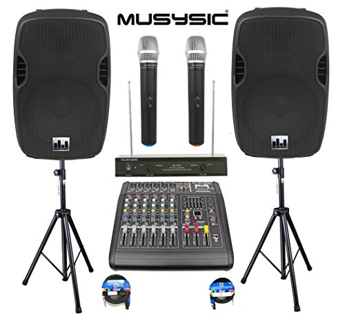 "Complete Professional 2000 Watts Complete PA System 6 Ch Mixer 10"" Speakers Dual Wireless Mics Stand"