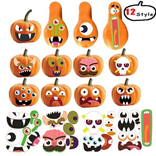 Halloween Painting Pumpkins Ideas (KSNOW Pumpkin Decorating Kits - Halloween Pumpkin & Thanksgiving Kids Party Decoration tickers Pumpkin Face Craft Decoration DIY Stickers Kits 12 Designs 36)