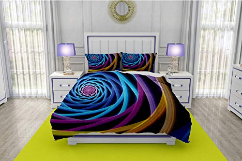 RLDSESS Bedding,3 Piece Quilt Coverlet Bedspread,Single-Sided Color Printed Quilt Coverlet-All Seasons,Style-Fractal,Modern and Unusual Digital Electronic Technology Forms sci fi Stylized-Twin