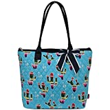 quilted fabric handbags for women - Ngil Quilted Cotton Medium Tote Bag 3 (Cactus Aqua Blue)