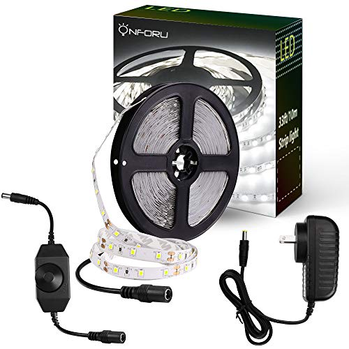 Onforu 33ft Dimmable LED Strip Lights Kit, 600 Units SMD 2835 LEDs, 12V Under Cabinet Lighting Strips, 10m LED Ribbon, Non-Waterproof Tape, 5000K Daylight White