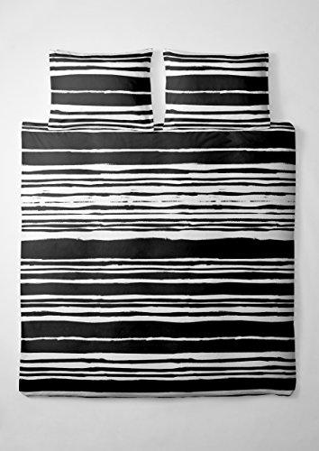 2 tlg. etérea Microfaser Bettwäsche Carola Streifen Gestreift Schwarz Weiß, 140x200 cm + 70x90 cm