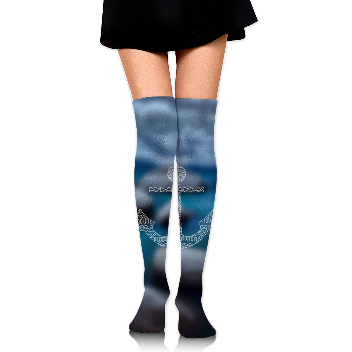 Kjaoi Girl Skirt Socks Uniform White Anchor Women Tube Socks Compression Socks