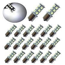 PESIC 20x DC12V 1156 1141 1003 BA15S 18 SMD Interior RV Camper White LED Light Bulbs