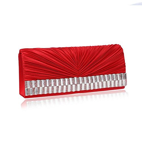 Bag Sparkly Party Lgsvb Womens Prom Plissé Red Clutch Bridal cq4WpWTnS