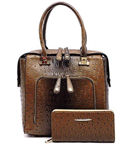 Embossed Front Pocket Tote Handbag (Le Miel Ostrich Embossed Tall Tote w/ Front Pocket, Strap + Wallet- Coffee)