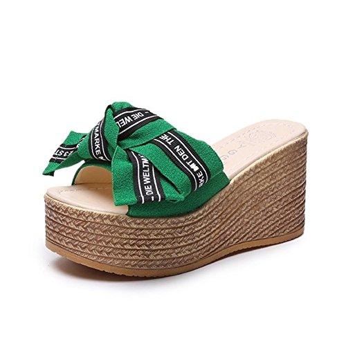 SHINIK Zapatos de mujer PU Summer Wedge Heel Comfort Slippers & Flip-Flops Bowknot para verde, negro, rosa UN