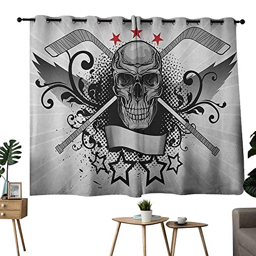 (NUOMANAN Curtains for Living Room Hockey,Illustration of a Skull with Hockey Sticks Swirls and Stars Scary Mascot, Black White Pale Grey,for Bedroom, Kitchen, Living Room 42
