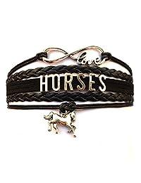 DOLON Adjustable Braided Horses Bracelet-Horse Lover Gift for Her,Mom,Daughter