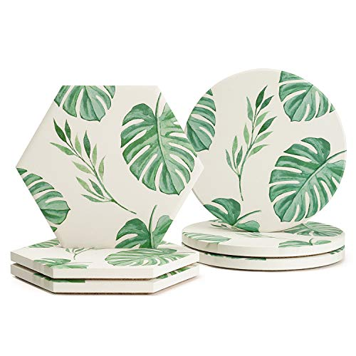 Sweese 3414 Monstera Leaves Pattern Absorbent Ceramic Coasters for Drink with Cork Back, Prevent Furniture from Dirty, Spills, Water Ring and Scratched, Set of 6