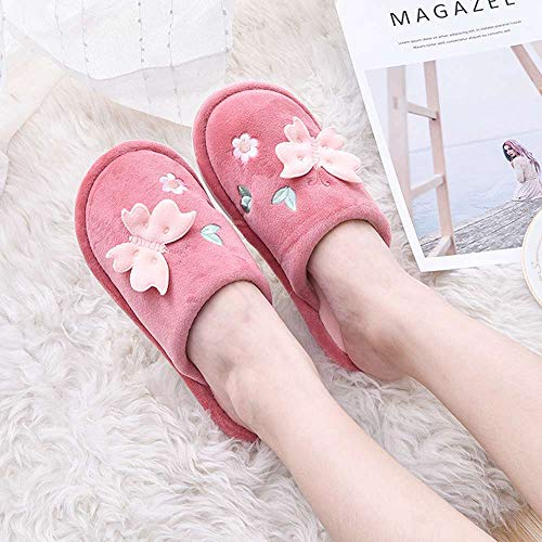 Anti Shoes Indoor Embroidered Slippers Red Winter Velvet Slip House Bow 3 Women TwAZFEqzA