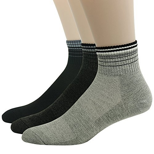 Mens 3 Stripe Quarter Sock - QualiMaker Men's Junior's Coolmesh Elite Stripe Cuff Arch Compression Athletic Quarter Cut Socks 3 Pairs,3pairs Color5,One Size
