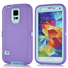 MOONCASE Galaxy S5 Case, 3 Layers Heavy Duty Defender Hybrid Soft TPU +PC Bumper Triple Shockproof Drop Resistance Protective Case Cover for Samsung Galaxy S5 -Purple Blue