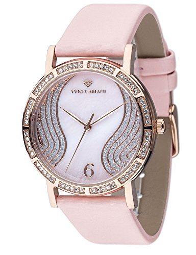 Yves Camani Mademoiselle Women's Wrist Watch Quartz Analog Dial Mother Of Pearl Rosegold Stainless Steel Casing & Pink Leather Strap