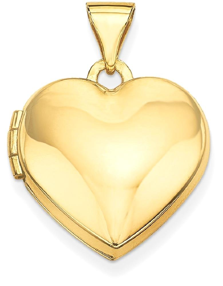 ICE CARATS 14k Yellow Gold Plain Heart Photo Pendant Charm Locket Chain Necklace That Holds Pictures Fine Jewelry Gift Set For Women Heart