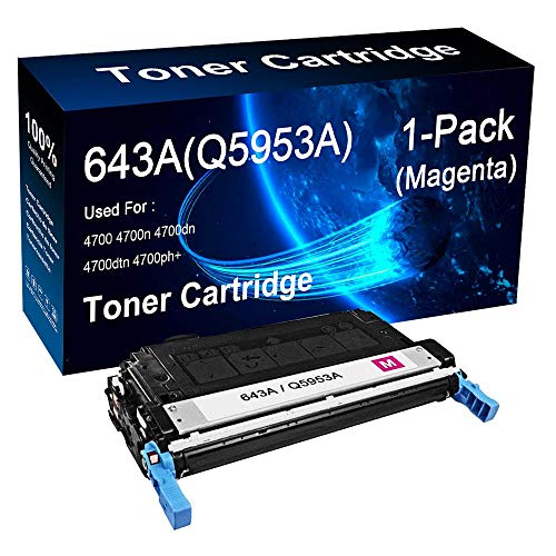 Compatible 1-Pack Magenta Q5953A 643A Toner Cartridge use for HP Color Laserjet 4700 4700n 4700dn Printer (10,000 Pages), by LOGTHER