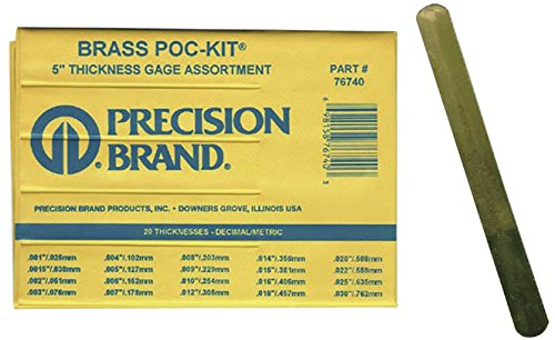 Precision Brand 76740  Brass Thickness Feeler Gage Poc-Kit Assortment, 1/2