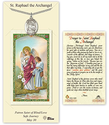 Pewter Saint Raphael the Archangel Medal with Laminated Holy Prayer Card (Raphael Pendant Medal)
