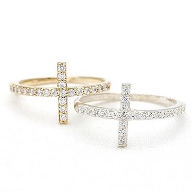 Amazon.com  Swarovski Elements Crystal Sideways Cross Ring  Jewelry 345d44dcb