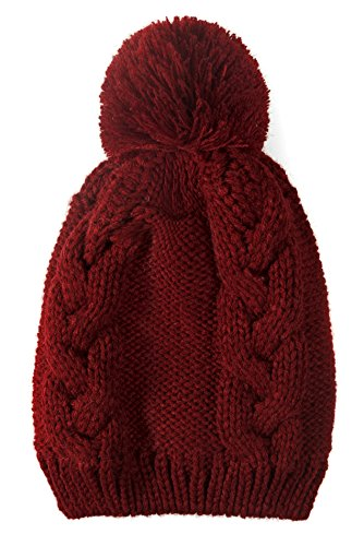 Warm Winter Beanie Fleece Lining with Pom Pom-Thick Slouchy Cable Knit Skull Hat Ski Cap (Red) (Red Skull Costume)