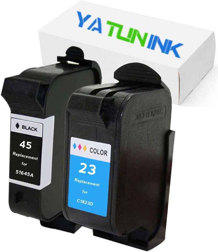 YATUNINK Remanufactured Ink Cartridge Replacement for HP 45 23 Ink Cartridge 51645A C1823D (1Black 1Color,2 Pack)