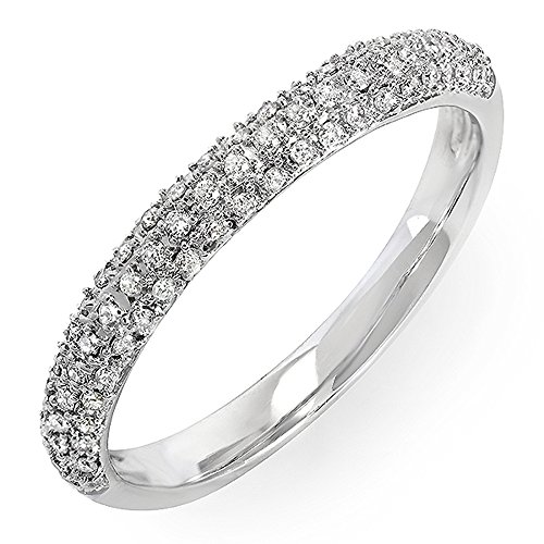 0.25 Carat (ctw) 18k White Gold Round Diamond Ladies Pave Anniversary Wedding Band Stackable Ring 1/4 CT (Size 7) - 18k Pave Diamond Ring